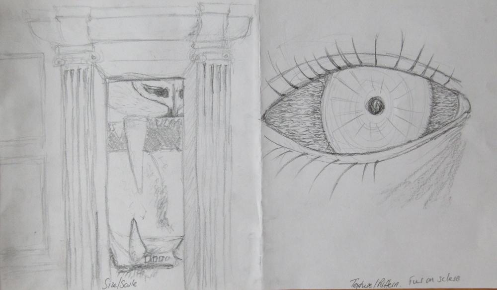 open door drawing perspective. Scale: Cats Teeth Witnessed Through And Open Door / Texture: Fur On An Eyeball Drawing Perspective 0